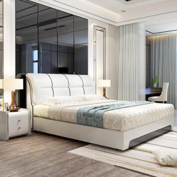 床皮床高箱储物软体床真皮床皮艺床软床1.8米软包双人床婚床