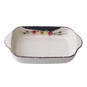 佰润居日式餐具芝士焗饭盘双耳烤盘碗创意长方形陶瓷盘子菜盘家用微波炉厨房用具