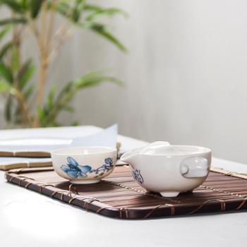 生活用品青花白瓷茶具快客杯一茶壶一茶杯日式便携旅行功夫茶具陶瓷
