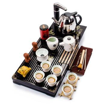 生活用品青花陶瓷功夫茶具茶盘套装二合一快速电热炉整套