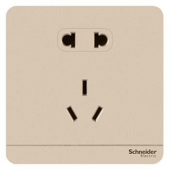 施耐德(Schneider)开关插座插座面板10A五孔插座绎尚系列薄暮金色