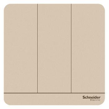 施耐德(Schneider)开关插座开关面板三开双控开关16A绎尚系列薄暮金色