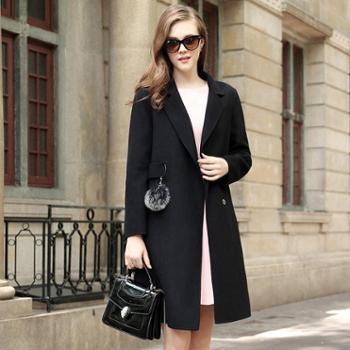 AVYON冬季时尚毛球双面羊绒大衣女纯色中长款呢子外套女装