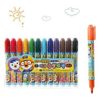 韩国pororo啵乐乐儿童水彩笔 啵乐乐安全水彩笔12色12只装