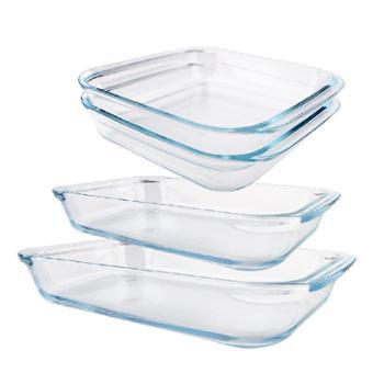 三角牌(TRIANGLE)强化玻璃烤盘套装长方形正方形耐高温玻璃烤盘餐盘组合四件套