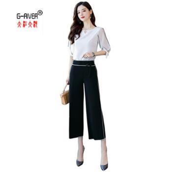 大江大河G-RIVER韩版纯色圆领女款七分袖阔腿裤两件套