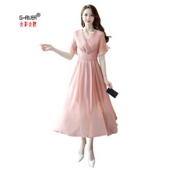 大江大河G-RIVER夏季时尚V领荷叶袖纯色连衣裙