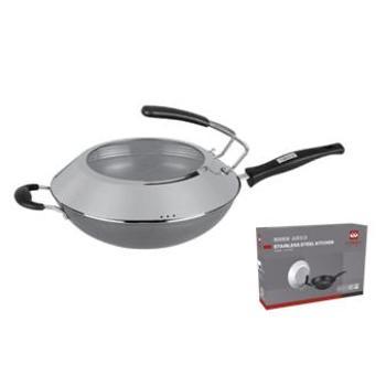 德国朗赫厨具 聚能真炒锅 透明盖炒锅 高纯度精铁精铸不锈不粘铁锅