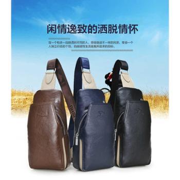 鸿岩袋鼠休闲斜挎小包骑行运动背包潮流时尚迷彩男士胸包牛皮胸包