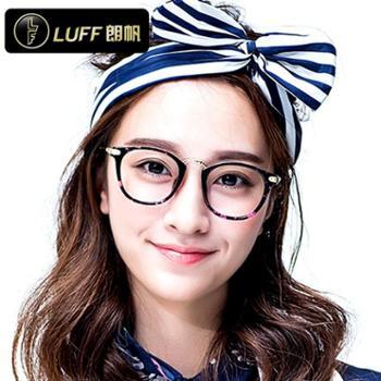 朗帆LuFF 圆框平光眼镜 防辐射眼镜人气女款潮复古黑框眼镜架8606