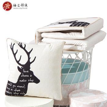 梅兰锦绣抱枕被时尚印花可水洗磨毛抱枕抱枕被FSZ-北欧印花40×40cm