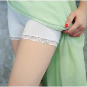 莫代尔无痕大码防走光安全裤 蕾丝三分裤女打底裤保险短裤2条装