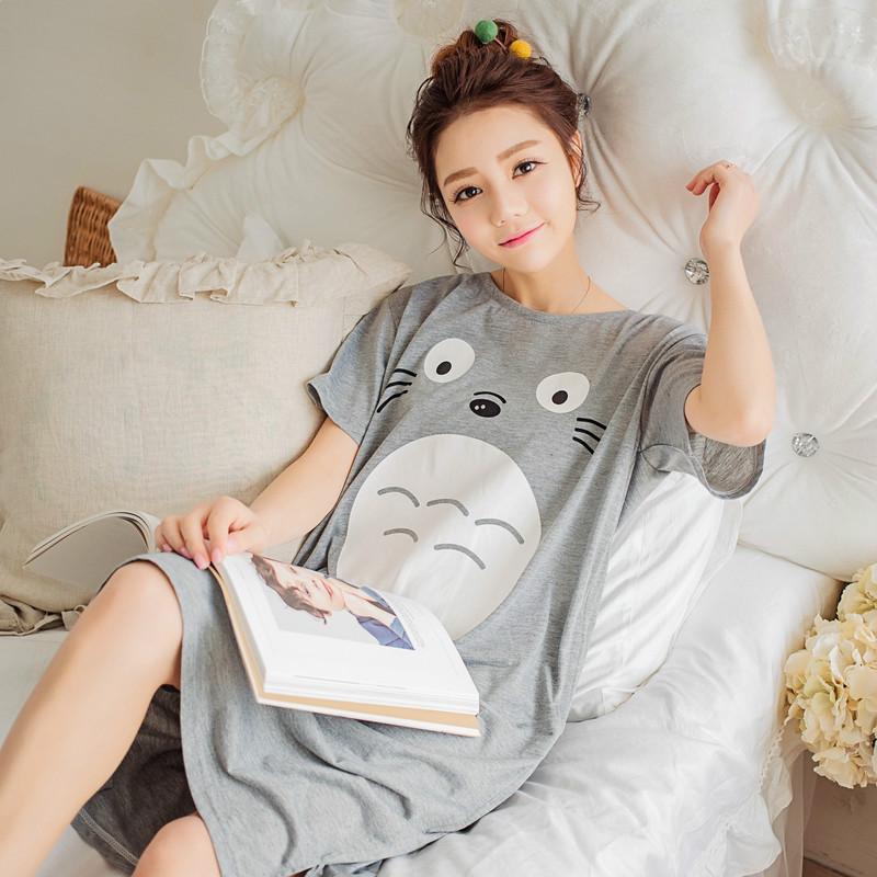 女士针织棉宽松睡衣短袖卡通活泼可爱睡裙家居服