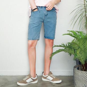 NIRBEN夏季新品蓝色牛仔短裤男潮流五分裤男中裤韩版修身N-717