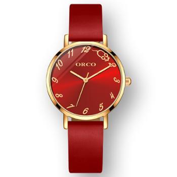 本命年鼠年限定手表女定制红色皮带情侣手表一对2020年新款