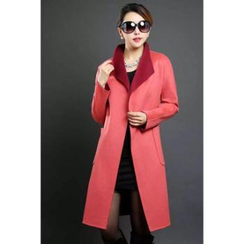 DE戴瑞斯DE17004深浅红里外双穿系腰带中长款修身显瘦双面羊绒呢大衣