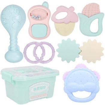 北国e家婴儿摇铃玩具8件套可水煮0-3岁宝宝益智早教新生儿手摇铃套装好玩的玩具