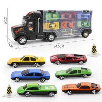 北国e家儿童模型货柜车6只合金小汽车玩具仿真小汽车玩具车带6只合金车男孩玩具