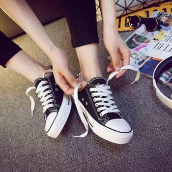 春低帮黑色帆布鞋女百搭小白鞋子韩版休闲平底白色板鞋女学生球鞋