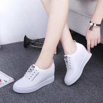 内增高女鞋系带春秋新款小白鞋运动休闲鞋松糕厚底坡跟单鞋乐福鞋