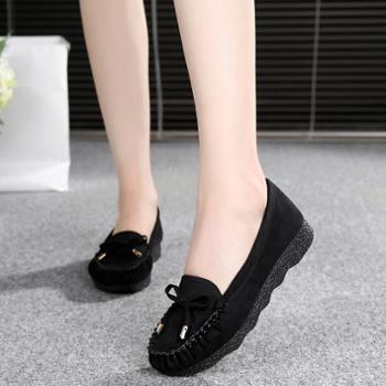 老北京布鞋女鞋豆豆鞋平底蝴蝶结单鞋百搭单鞋黑色工作鞋女休闲鞋