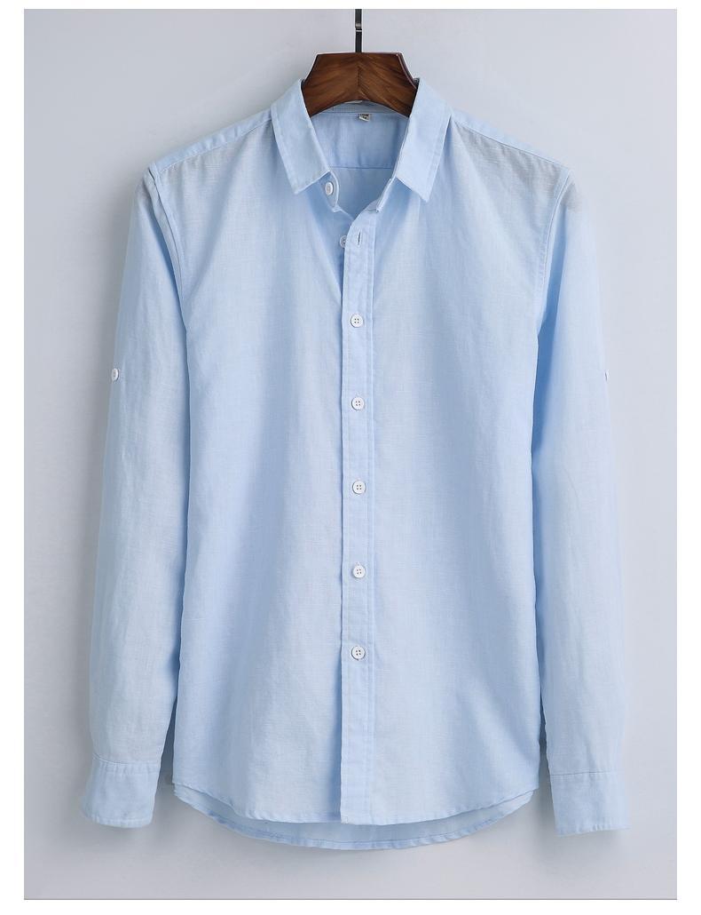 款韩版白色亚麻衬衫男长袖休闲棉麻衬衣简约修身