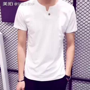夏季男士短袖t恤男纯棉半袖男装韩版修身v领体恤长袖打底衫上衣服2