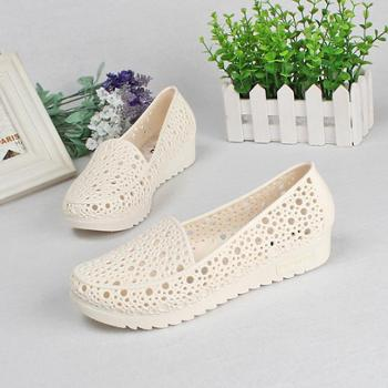 夏季舒适坡跟防滑护士鞋白色凉鞋女夏塑料镂空妈妈鞋工作鞋洞洞鞋