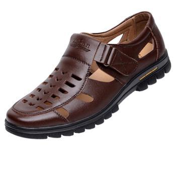 夏季凉鞋男士皮鞋男真皮透气休闲鞋中老年皮凉鞋爸爸鞋子