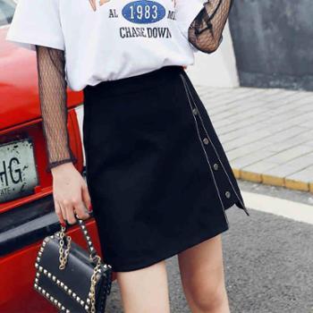 夏季新款黑色半身裙a字裙高腰显瘦不规则包臀裙女17学生排扣短裙