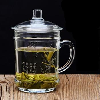 玻璃杯子家用喝水泡茶杯办公室有盖水杯带把带盖把手透明