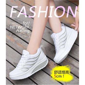 2017黑色女鞋韩版时尚运动鞋女子气垫厚底跑步休闲鞋小白鞋厚底A