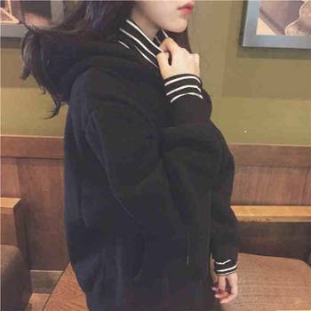 卫衣女韩版潮学生秋冬季宽松原宿bf假两件长袖加绒带帽衫套头外套