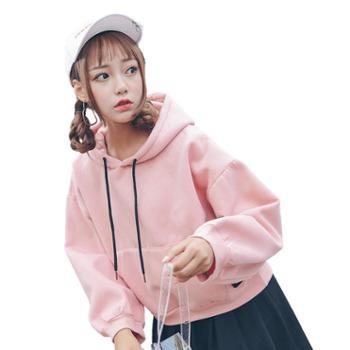 粉色卫衣女秋冬季加绒小清新软妹连帽宽松加厚学生短款外套bf学院