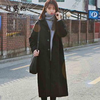 彩黛妃2017秋冬韩版修身女装毛呢外套时尚百搭大码中长款呢子大衣