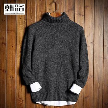 韩路日系男装新品男式毛衣高领宽松长袖纯色针织毛衫 A