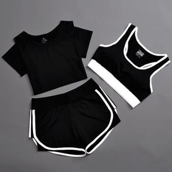 夏季运动套装女瑜伽服运动三件套跑步健身服速干运动短裤防震背心