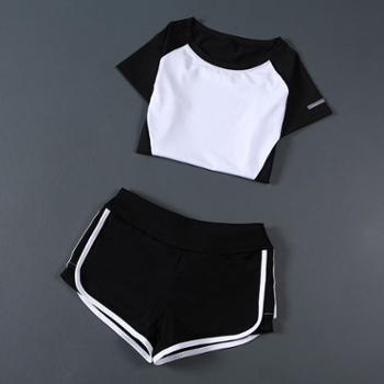 运动瑜伽服套装女夏季两件套速干短袖上衣瑜珈跑步短裤显瘦健身服