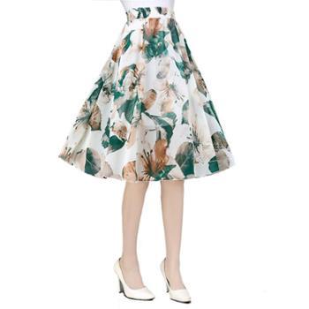 2018夏季新款印花半身裙中长款女高腰大摆a字裙修身显瘦雪纺中裙