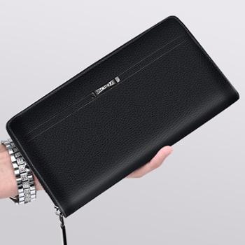 新款长款钱包男拉链钱包大容量手抓包男士商务潮流皮手机包手拿包