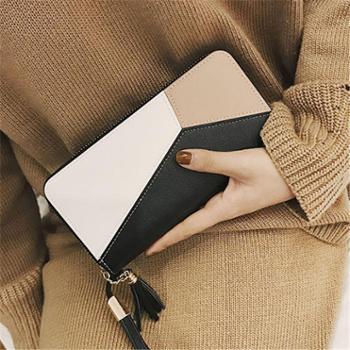 新款女士手拿钱包女长款韩版潮个性撞色拼接拉链女学生手机包