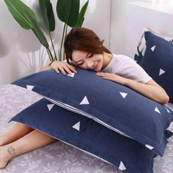 【一对装】盛蒂夏季枕套夏天纯棉成人枕头套单人枕芯套48x74cm