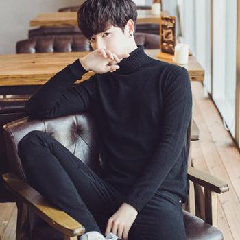 秋冬季男士高领毛衣修身韩版套头纯色针织衫打底衫线衫男学生潮