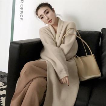 网红毛衣 秋季新款百搭宽松针织衫翻领羊毛开衫中长款外套女装