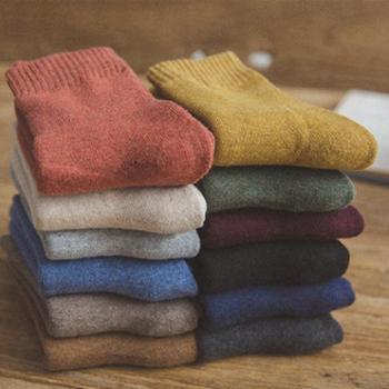 冬季袜子女韩版加厚保暖加绒秋冬天纯棉袜中筒长袜羊毛月子学院风