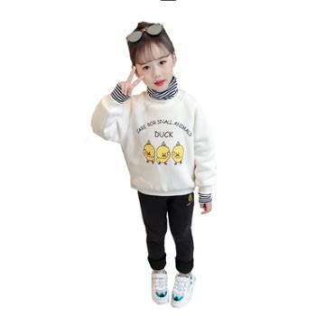 女童卫衣冬装加绒加厚儿童小黄鸭保暖上衣洋气高领打底衫