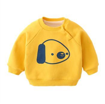 宝宝卫衣加绒男婴儿保暖上衣婴幼儿衣服秋冬中小童加厚儿童冬装女