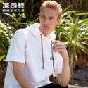 Bosideng/波司登2018新品男士套头连帽时尚短袖白色卫衣B80716055