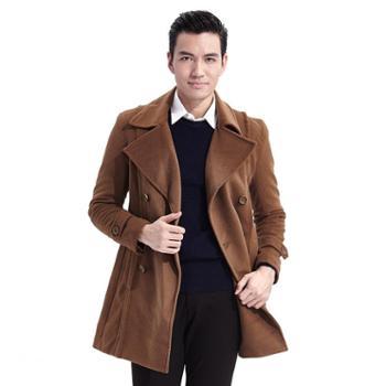 阿仕顿 男装男士秋冬新款韩版时尚修身型休闲中长款翻领羊毛大衣
