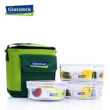 韩国Glasslock三光云彩钢化玻璃饭盒密封保鲜碗GL30保鲜盒三件套